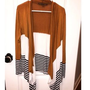Caramel/White/Striped Cardigan